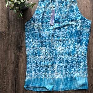 Sheer blue sleeveless Top NWT